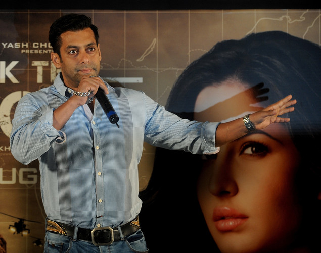 Bollywood actor Salman Khan speaks during a promotional event for the forthcoming film 'Ek Tha Tiger' in Mumbai.