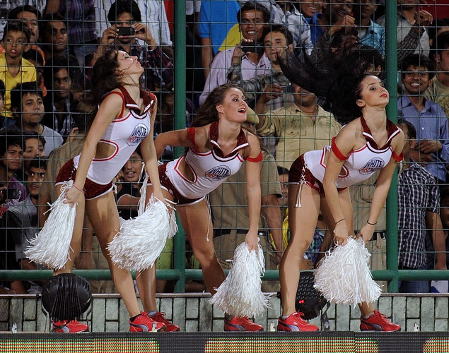 Delhi Daredevils cheerleaders perform during the IPL Twenty20 cricket match between Chennai Super Kings and Delhi Daredevils at the Feroz Shah Kotla stadium.