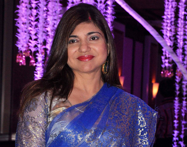 Bollywood playback singer Alka Yagnik attends the wedding reception of playback singer Sunidhi Chauhan and musician Hitesh Sonik.