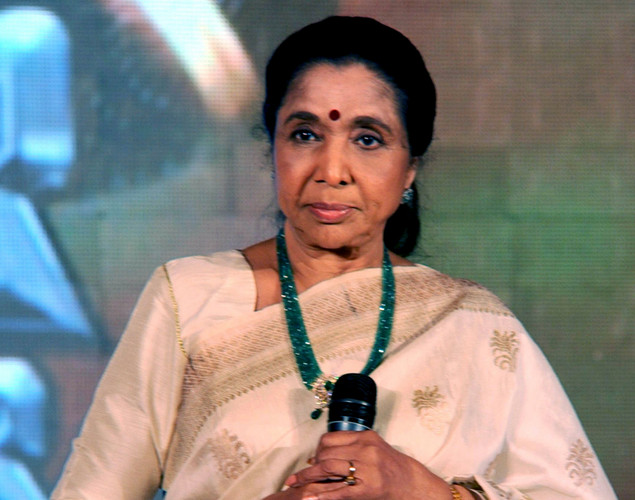 "Indian playback singer Asha Bhosle addresses during a media event for the television musical show ""Sur-Kshetra"" In Mumbai."