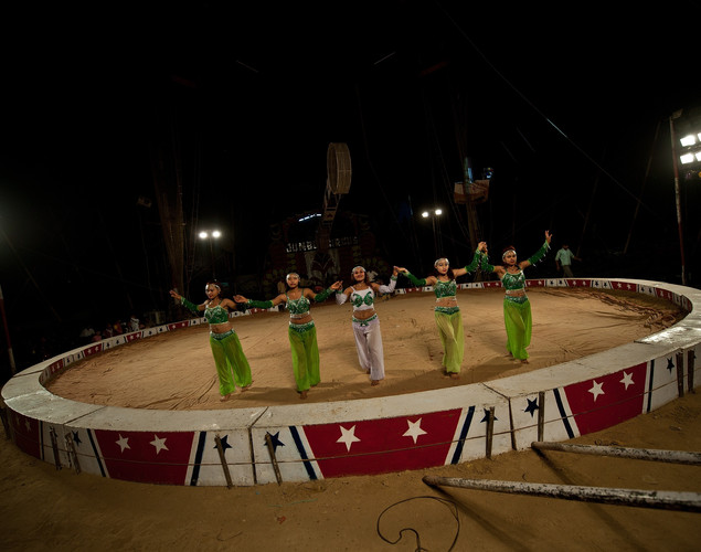 Female performers stand in the ring at the Jumbo Circus in Gurgaon.