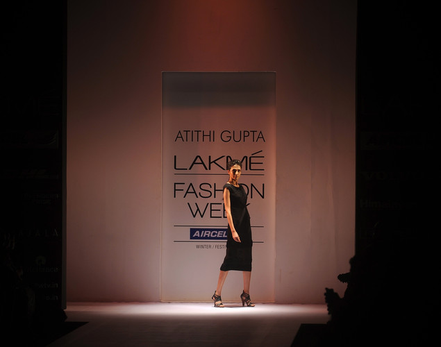 A model showcases a creation by designer Atithi Gupta on the final day of Lakme Fashion Week (LFW) winter/festive 2012 in Mumbai on August 7, 2012.