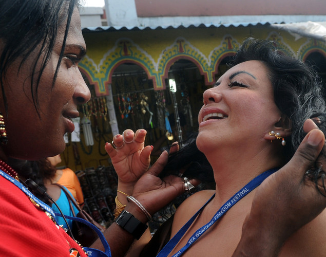Sex workers from around the world shate a light moment during the Sex Workers' Freedom Festival in Kolkata.