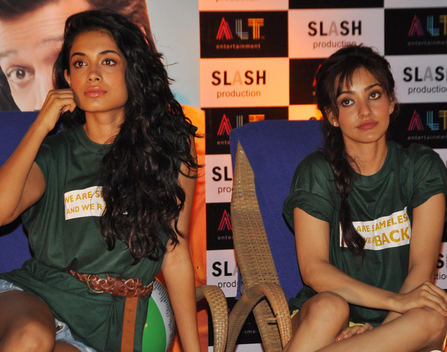 "Neha Sharma (R) and Sarah Jane Dias (L) pose during a promotional event for the forthcoming Hindi film ""Kyaa Super Kool Hai Hum"" directed by Sachin Yardi in Mumbai."