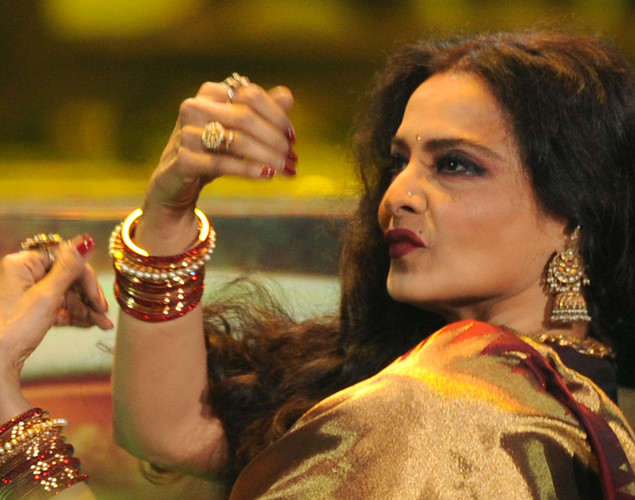 Veteran Bollywood actress Rekha dances during the International Indian Film Academy (IIFA) awards ceremony in Singapore .