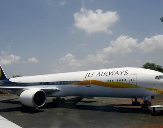 A Boeing 777-300ER aircraft of India's Jet Airways stands on the tarmac at Chatrapati Shivaji International Airport in Mumbai, 2007.