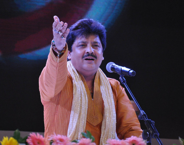 Udit Narayan performs during the commemoration by the Sri Sathy Sai Seva Organization Maharashtra and Goa of the first Maha Samadhi anniversary of Bhagawan Sri Sathya Sai Baba in Mumbai.