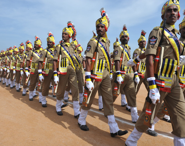 Andhra Pradesh state Special Police personnel march past during India's Independence Day celebrations in Secunderabad, the twin city of Hyderabad, on August 15, 2012.