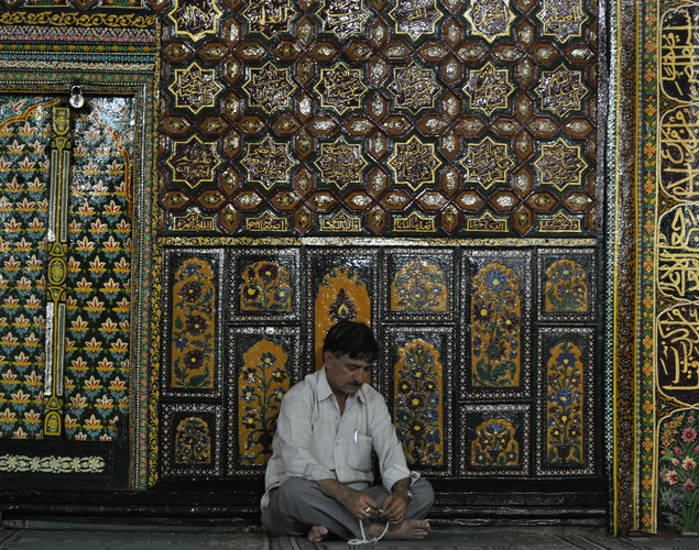 A Kashmiri Muslim prays at the Shah-i-Hamdaan shrine during Ramadan in Srinagar.