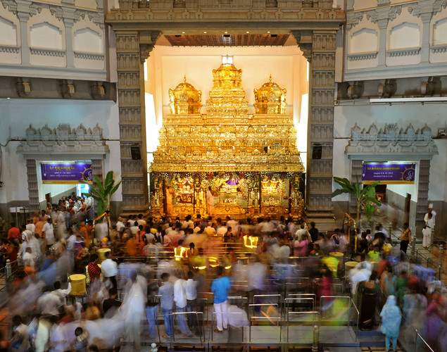 Indian Hindu devotees visit the International Society for Krishna Consciousness (ISKCON) temple in Bangalore on August 9, 2012 on the eve of 'Krishna Janmashtami'.