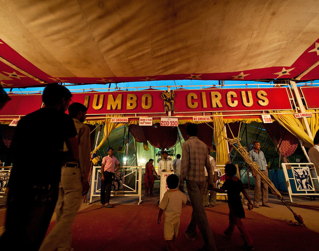 Indian spectators arrive to watch the Jumbo Circus in Gurgaon.