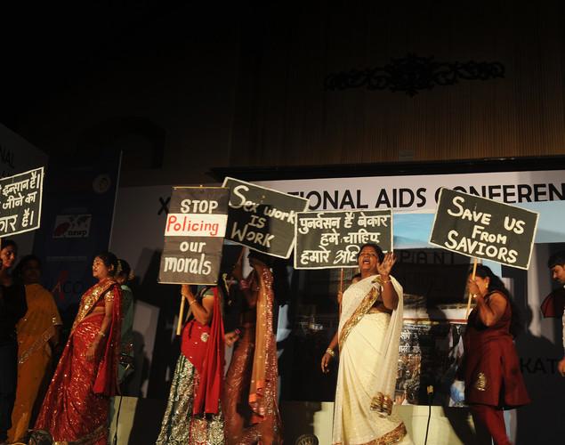 Indian sex workers perform a drama during the Sex Workers' Freedom Festival in Kolkata.