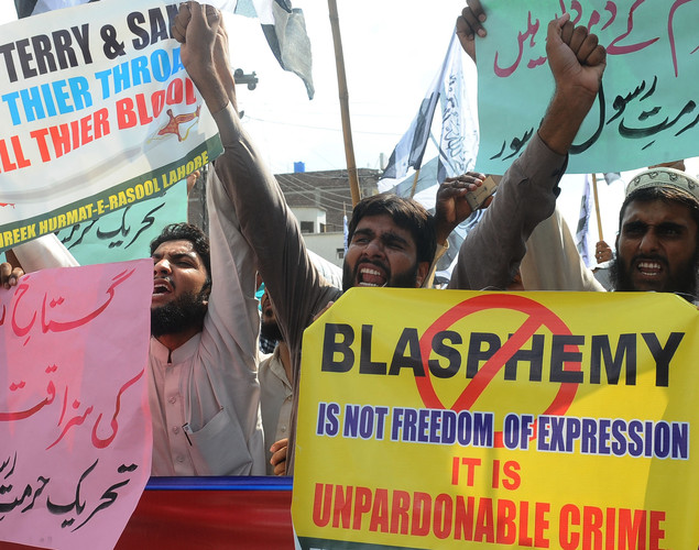Supporters of Pakistan's outlawed Islamic hardline group Jamaat ud Dawa (JD) shout anti-US slogans during a demonstration against the anti-Islam film in Lahore.