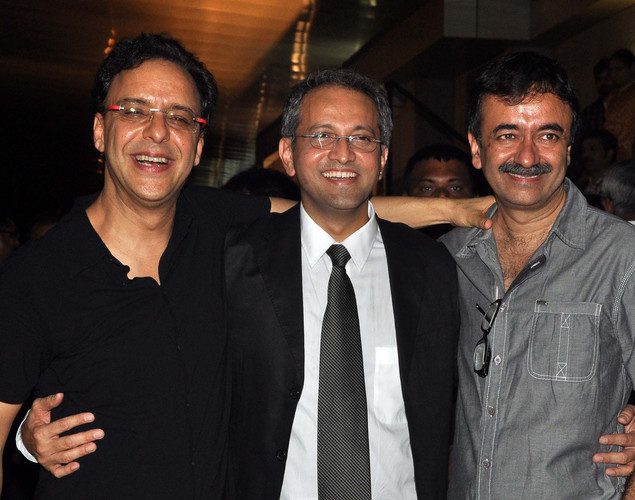 Bollywood film producer/directors Vidhu Vinod Chopra, (L), Rajesh Mapuskar, (C) and Rajkumar Hirani pose during the premiere of Hindi film 'Ferrari Ki Sawaari' in Mumbai.