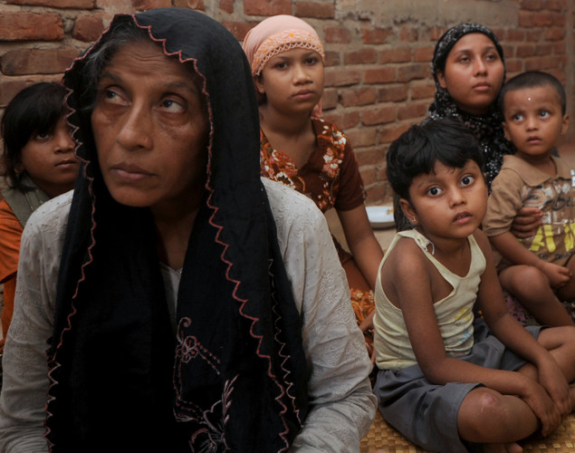 A Rohingya Muslim family, who fled Myanmar to Bangladesh to escape religious violence, are pictured in Taknaf.
