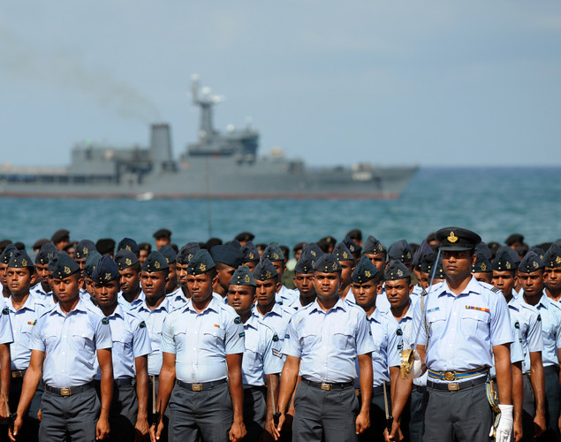 Sri Lankan military personnel march during a rehearsal in Colombo.