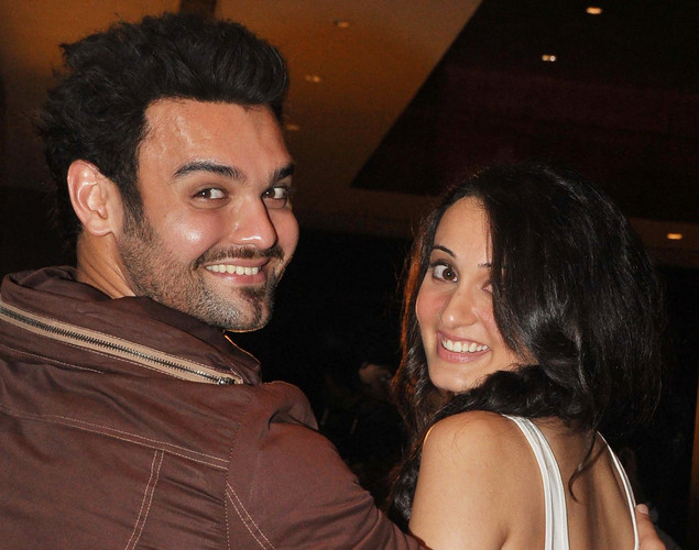 Mahaakshay Chakraborty (R) and Vaishali Desai pose for a photo during the launch of upcoming Hindi film Tukkaa Fitt directed by Shawn Arranha in Mumbai.