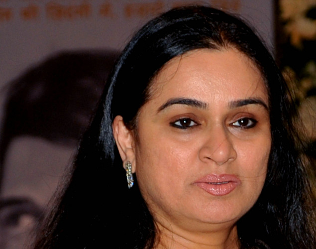 Indian Bollywood actress Padmini Kolhapure attends a prayer function in memory of late actor Rajesh Khanna in Mumbai.