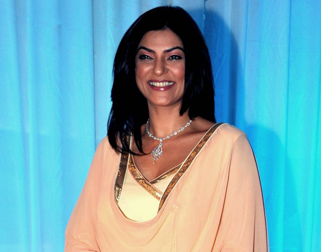 Bollywood film actress Sushmita Sen poses during the wedding reception ceremony of film actress Esha Deol and husband Bharat Takhtani in Mumbai.
