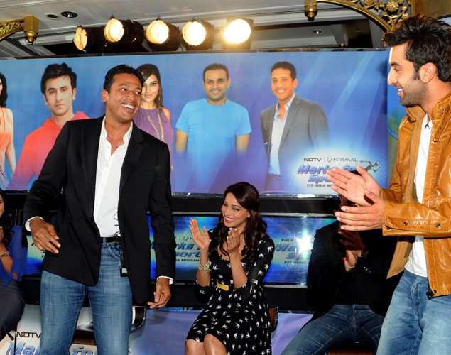 Indian tennis player Mahesh Bhupathi and Bollywood film actor Ranbir Kapoor interact during the launch of the 'Marks For Sports' campaign created by the Fit India Movement in Mumbai.