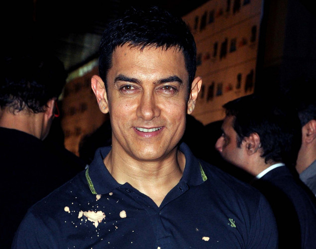 Bollywood film actor Aamir Khan poses during the premiere of Hindi film 'Ferrari Ki Sawaari' in Mumbai.