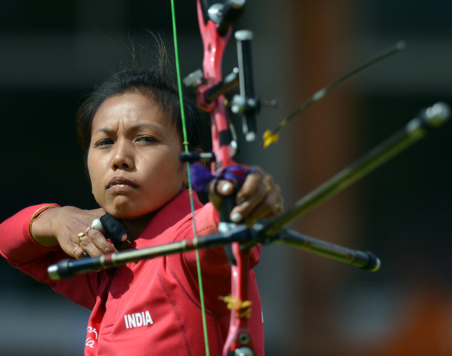 India's Devi Bombayia Laisharm competes during the women's individual event between India and Greece of the London 2012 Olympic Games at Lord's Cricket Ground on July 30, 2012 in London. India defeated Greece.