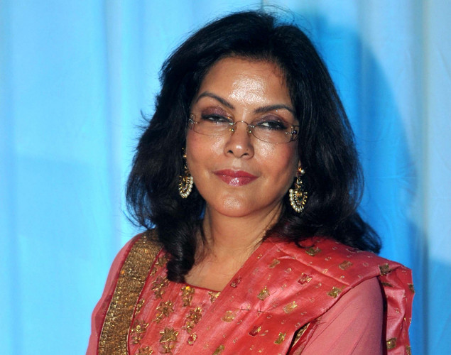 Bollywood film actress Zeenat Aman poses during the wedding reception ceremony of film actress Esha Deol and husband Bharat Takhtani in Mumbai.