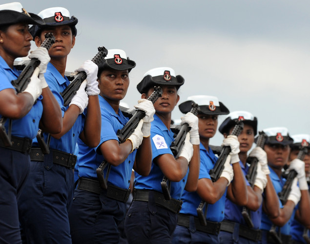 Sri Lankan Navy personnel march during a rehearsal in Colombo.