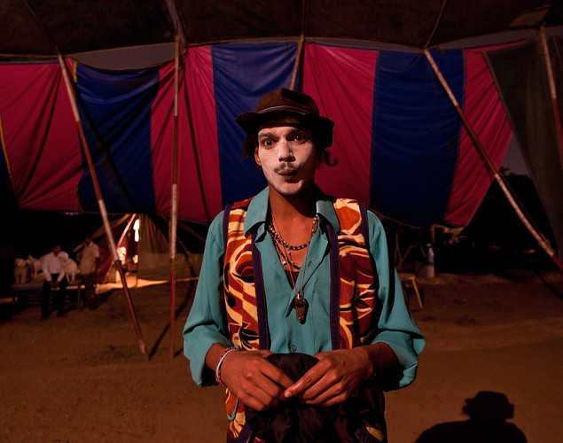 An Indian clown poses backstage at the Jumbo Circus in Gurgaon.