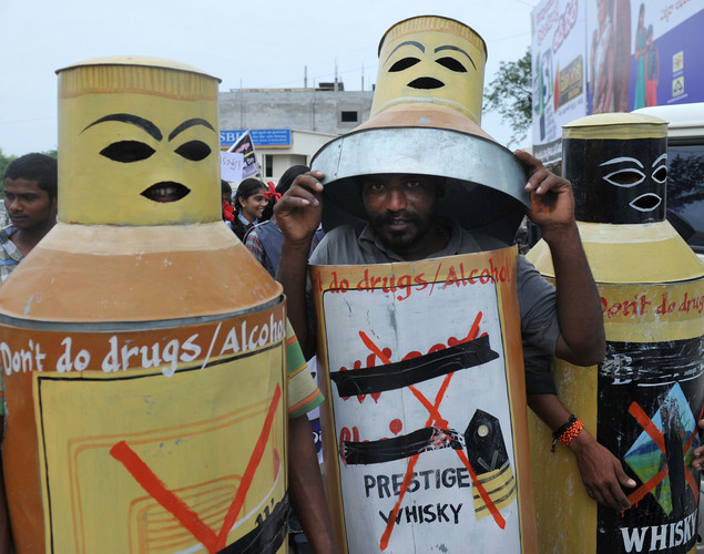Indian's undergoing alcohol abuse treatment participate in an anti drugs rally for International Day against Drug Abuse and Illicit Trafficking in Warangal, some 140 kms from Hyderabad.
