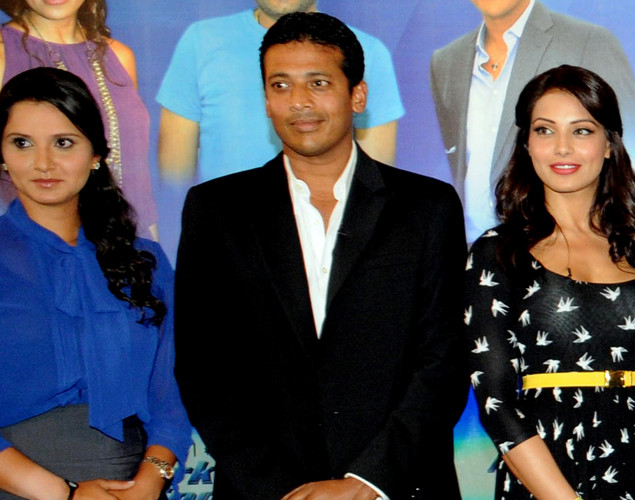 Indian tennis players Sania Mirza and Mahesh Bhupathi and Bollywood film actress Bipasha Basu pose during the launch of the 'Marks For Sports' campaign created by the Fit India Movement in Mumbai.