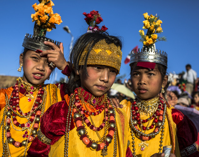 Tribal Khasi maidens dressed in traditional costume wait to participate in a traditonal dance during the Shad Suk Mynsiem Festival.
