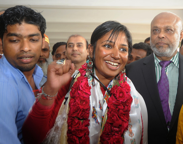 Bangladeshi mountaineer Wasfia Nazreen reacts after arriving at the Hazrat Shahjalal International Airport in Dhaka.