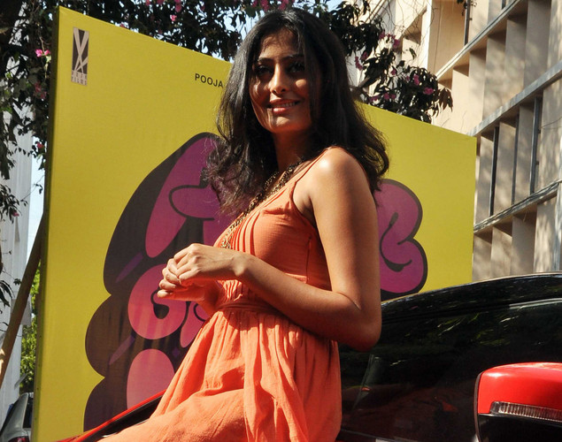 "Nidhi Subbaiah poses during a promotional event for the Hindi film ""Ajab Gazabb Love"" in Mumbai."