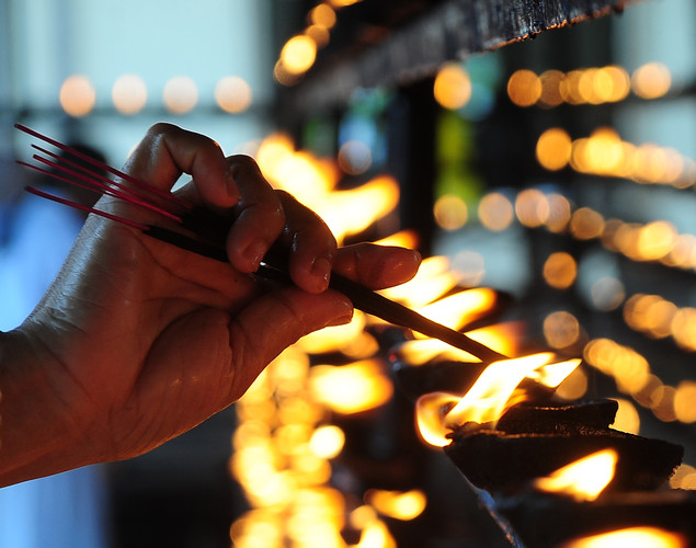 A Sri Lankan Buddhist lights an oil lamp during Vesak at the Temple in Colombo.