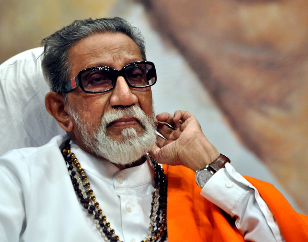 Indian politician Shiv Sena chief Bal Thackeray attends the 'Deenanath Mangeshkar Puraskar Awards 2012' ceremony in Mumbai.