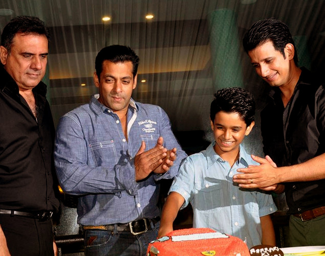 Bollywood actors (L-R) Boman Irani, Salman Khan, Ritvik Sahore, and Sharman Joshi attend a party for the Hindi film 'Ferrari Ki Sawaari' in Mumbai.