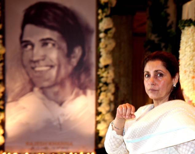 Indian Bollywood actress Dimple Kapadia attends a prayer function in memory of her late husband and actor Rajesh Khanna in Mumbai.