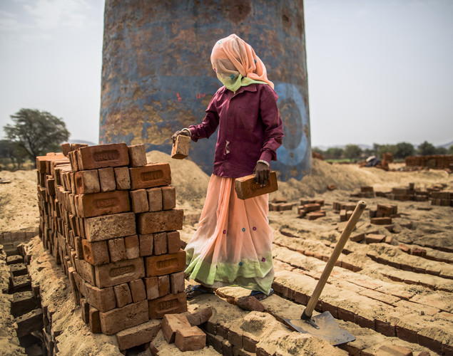 A woman stacks baked bricks at a brick making facility on May 23, 2012 in a village near Jaipur, India.