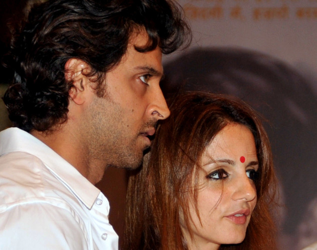 Indian Bollywood actor Hrithik Roshan with wife attend a prayer function in memory of late actor Rajesh Khanna in Mumbai.
