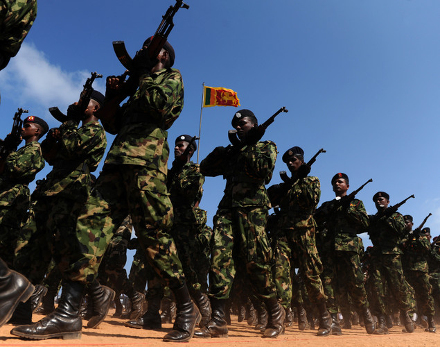 Sri Lankan Army personnel march during a Victory Day parade rehearsal in Colombo.