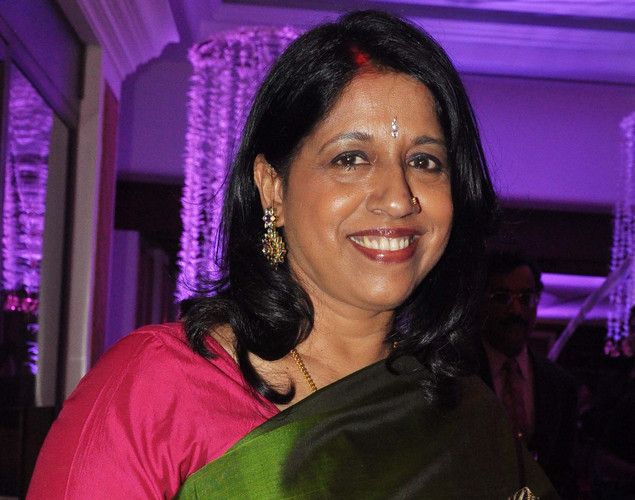 Bollywood playback singer Kavita Krishnamurthy attends the wedding reception of playback singer Sunidhi Chauhan and musician Hitesh Sonik.