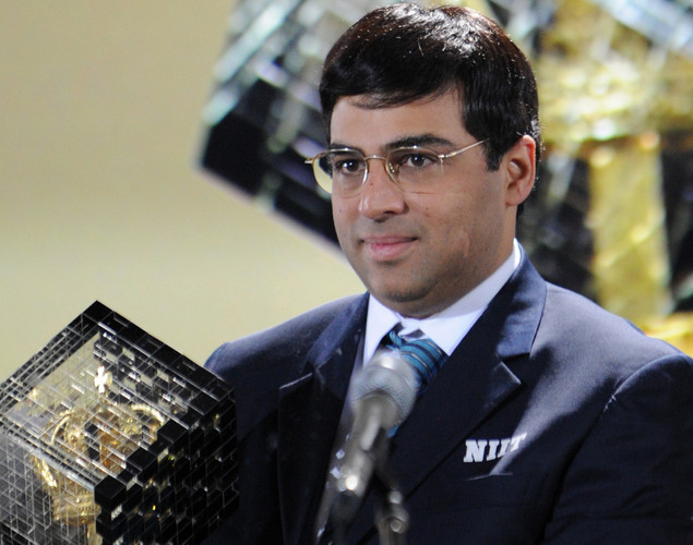 India's defending World chess champion Viswanathan Anand attends the award ceremony of the FIDE World chess championship match in State Tretyakovsky Gallery in Moscow.