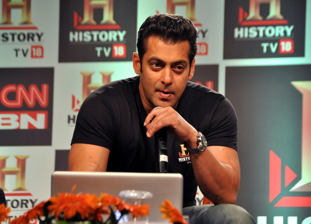 Salman Khan speaks during a press conference of the 'HISTORY TV18's