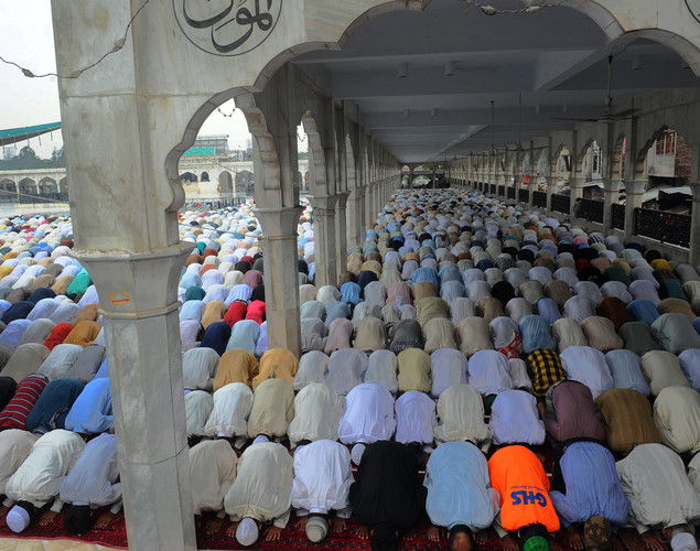 Pakistani Muslims offer Jummat-ul-Vida, last Friday, prayers during the holy month of Ramadan at the Dada Darbar mosque in Lahore.