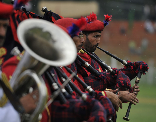 Jammu and Kashmir Police parade during celebrations marking India's Independence Day at The Bakshi Stadium in Srinagar on August 15, 2012.
