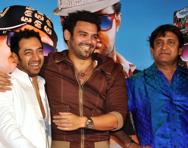 "Hiten Patel, Mahaakshay Chakraborty and Mahesh Manjrekar pose for a photo during the launch of upcoming Hindi film ""Tukkaa Fitt"" directed by Shawn Arranha in Mumbai."
