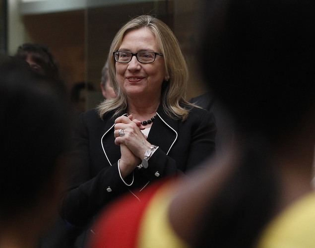 US Secretary of State Hillary Clinton watches a performance during an Anti-Human Trafficking event in Kolkata.