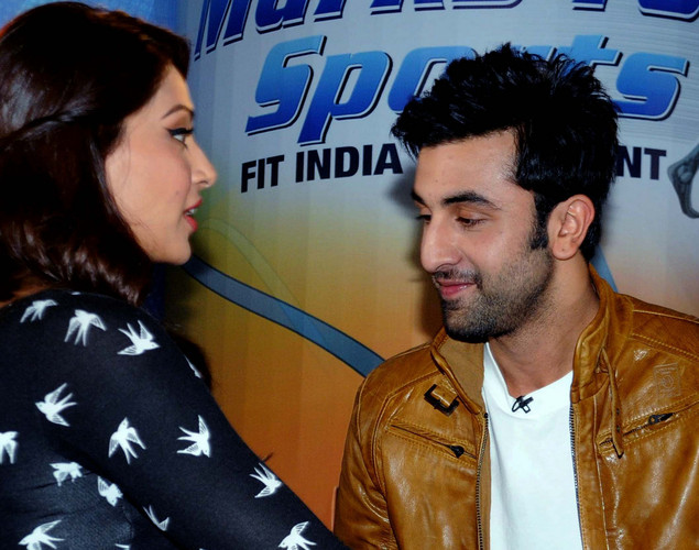 Bollywood film actors Bipasha Basu (L) and Ranbir Kapoor pose during the launch of the 'Marks For Sports' campaign created by the Fit India Movement in Mumbai.