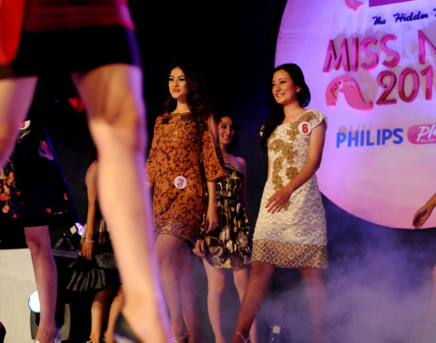 Miss Nepal contestants walk past during the contest in Kathmandu.